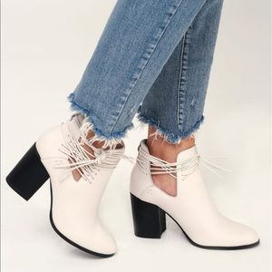Black Ankle Cutouts Chunky Marble Heel Boots